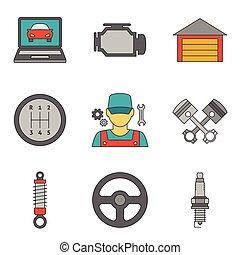 plat, service, icônes, vol, auto, 2, ligne