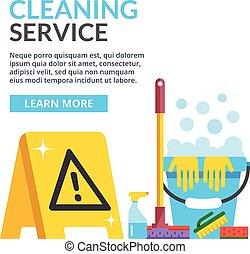 plat, service, nettoyage, illustration
