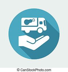 plat, service, nourriture, -, livraison, vecteur, icône
