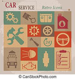 plat, service, voiture, icons., vecteur, retro, entretien