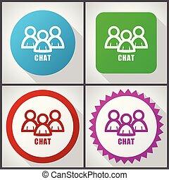 plat, set, 10., praatje, iconen, options., eps, bewerken, vector, ontwerp, 4, gemakkelijk, pictogram