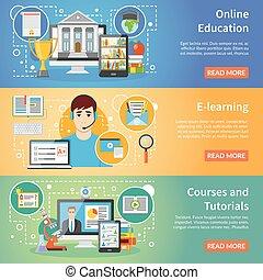 plat, set, 3, online, banieren, opleiding