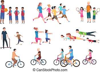 plat, set, activities., mensen, vrijstaand, illustratie, vector, ouders, fitness, activity., sportende, kinderen, lichamelijk