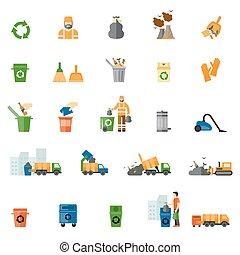 plat, set, afval, restafval, iconen