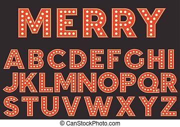 plat, set, alfabet, ontwerp, retro, gloeilamp, kerstmis