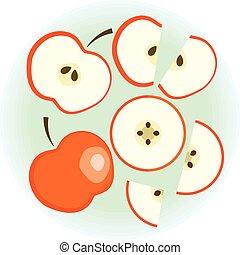 plat, set, appel, rijp, vector, rood