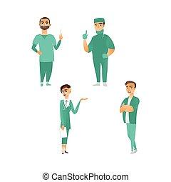 plat, set, arts, vector, karakters, verpleegkundige, chirurg