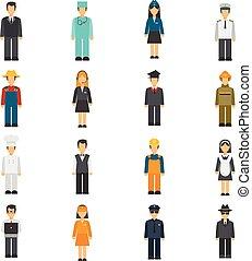 plat, set, beroep, avatars