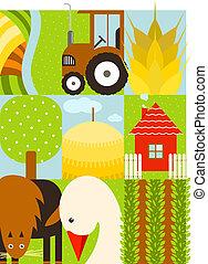 plat, set, boerderij, kinderachtig, rechthoekig, landbouw