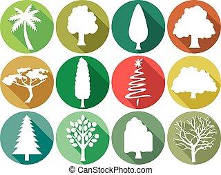 plat, set, bomen, iconen