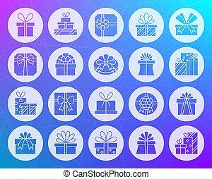 plat, set, cadeau, iconen, vorm, vector, gekerfde