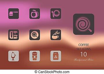 plat, set, coffee., iconen, benevelde achtergrond