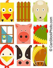 plat, set, dieren, boerderij, kinderachtig, rechthoekig, vee