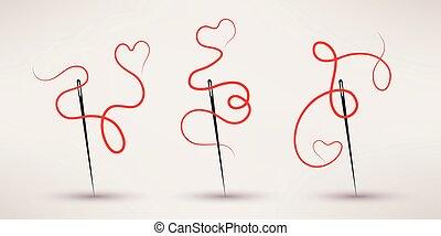 plat, set, draad, naald, vector, style., pictogram