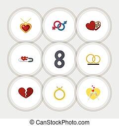 plat, set, elements., hart, objects., omvat, champagne, ook, vector, hartstocht, halssnoer, ring, gesloten, anderen, pictogram