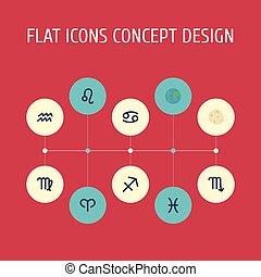 plat, set, elements., iconen, aqurius, schorpioen, astronomie, omvat, symbolen, ook, leeuw, vector, vissen, objects., anderen, vissen, komeet