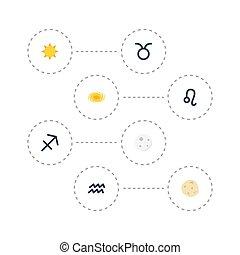 plat, set, elements., iconen, boogschutter, zonneschijn, omvat, stier, ook, leeuw, vector, boogschutter, lunair, symbolen, objects., anderen