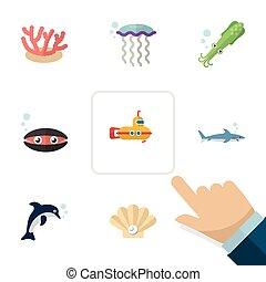 plat, set, elements., scallop, coraal, periscoop, natuur, schelp, omvat, ook, tentakel, vector, medusa, objects., anderen, pictogram