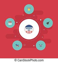 plat, set, elements., usa, badge, vliegtuig, omvat, symbolen, ook, vector, toewijzen, instrument, muzikalisch, iconen, objects., gedenkteken, spandoek, anderen, geschiedenis
