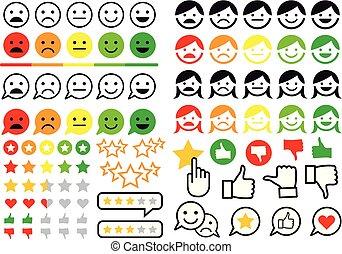 plat, set, emoji, iconen, bespreken, vector, gebruiker, classificatie