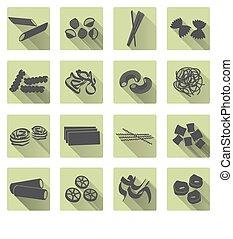 plat, set, eps10, iconen, kleur, voedingsmiddelen, gevarieerd, pasta, types
