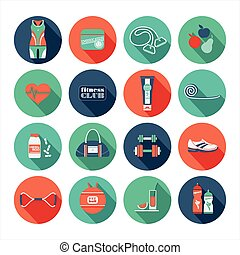 plat, set., fitness, conception, icônes