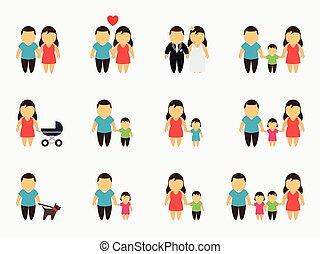plat, set, gezin, iconen