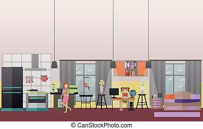 plat, set, gezin, iconen, vector, karakters, thuis