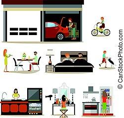 plat, set, gezin, iconen, woning, vector, interieur, karakters