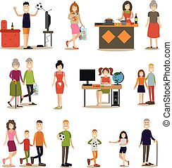 plat, set, gezin, mensen, vector, pictogram