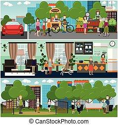 plat, set, gezin, poster, vector, karakters, buitenshuis, thuis