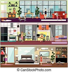 plat, set, gezin, poster, vector, karakters, thuis