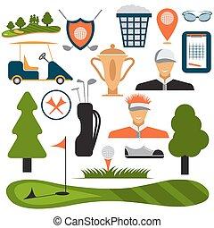 plat, set, golf, vector, ontwerp, pictogram