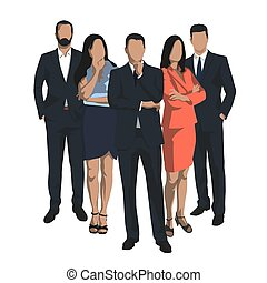 plat, set, groep, zakenlui, mannen, vrijstaand, vector, ontwerp, vrouwen, illustrations.