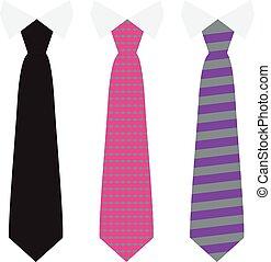 plat, set, hals, vast lichaam, kleur, vector, modieus, banden, style.