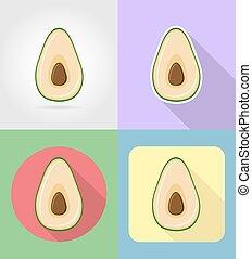 plat, set, iconen, avocado, illustratie, vector, vruchten, schaduw