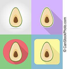 plat, set, iconen, avocado, illustratie, vruchten, schaduw