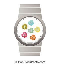 plat,  Set, iconen, beweeglijk, Vrijstaand, illustratie, Toepassingen,  Vector,  web, witte