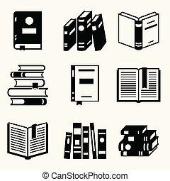 plat, set, iconen, boek, ontwerp, style.