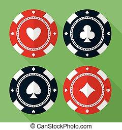 plat, set, iconen, casino, vector, gokkende spaanders