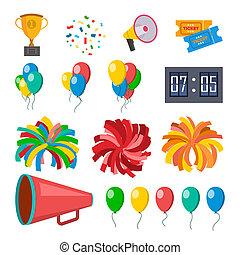plat, set, iconen, cheerleaders, vrijstaand, illustratie, cheerleading, accessories., megaphone., confetti, pompoms, ballons, spotprent