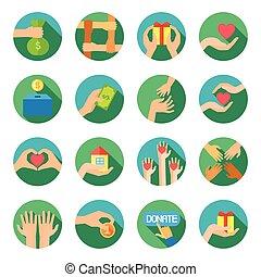 plat, set, iconen, geven, lang, handen