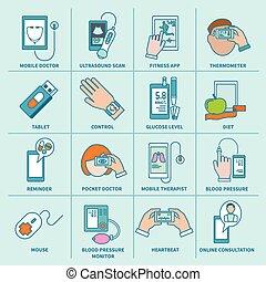 plat, set, iconen, gezondheid, digitale , lijn