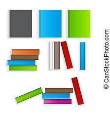 plat, set, iconen, illustratie, vector, boekjes
