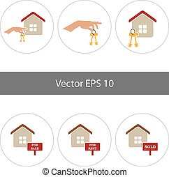 plat, set, iconen, illustratie, vector, thuis, style.