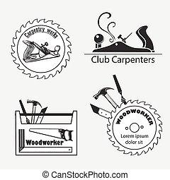 plat, set, iconen, joinery, timmerman, producten, werken, gereedschap, meubelmakerij