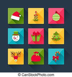plat, set, iconen, kerstmis, ontwerp, style.