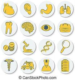 plat, set, iconen, kleur, medisch, gele, subjects., modieus, witte , ronde, design.