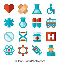 plat, set, iconen, medisch, vector, style.