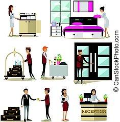 plat, set, iconen, mensen, hotel, vector, karakters, spotprent